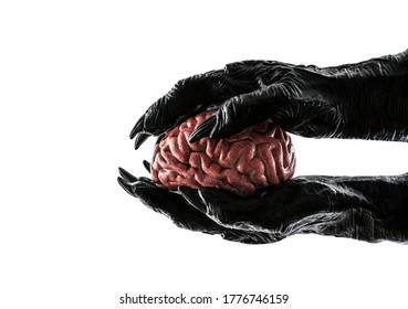 Human brain in monster hands isolated on white background with clipping path. Free your mind concept