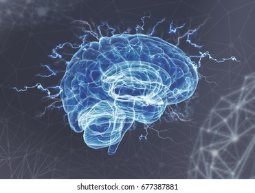 A human brain on blue background