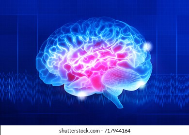 Human brain on a dark blue background. Digital illustration