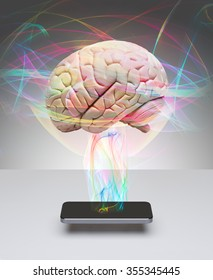 Human brain and smart phone