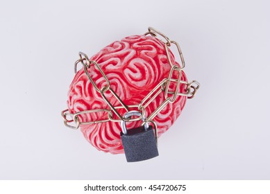 Human brain tied with chain and locked with padlock. Concept.