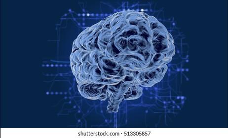 Human Brain-3d render hologram