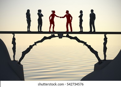 Human bridge merging teams at dusk 3d render. A bridge made of people helps in the merging of two teams with a handshake at dusk.