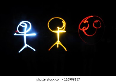 Human by light painting