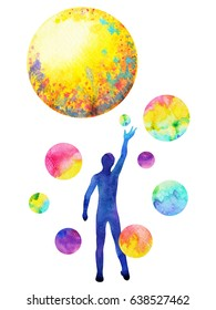 human catch moon power, inspiration abstract thought, world, universe inside your mind, watercolor painting
