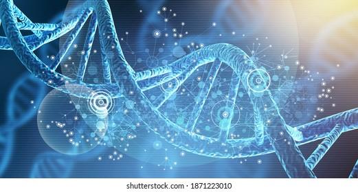 Human cell biology DNA strands molecular structure illustration