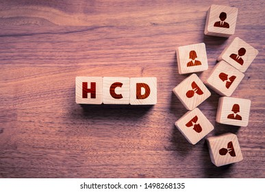 Human Centered Design (HCD) concept. Wooden cubes with text HCD and cubes with people icons representing word human.