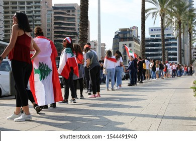 Human Chain from North to South, Beirut, Lebanon - October 27, 2019: during the Lebanese Revolution, against the current government, and against corruptions in the country