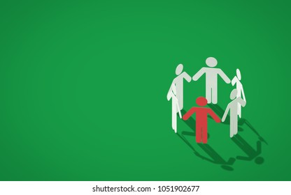 Human chain silhouettes holding hands on green background. 3d rendering
