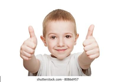Human child hand gesturing thumb up success sign