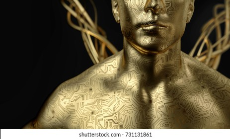 The human with the circuit board around. Gold man 3d rendering and illustration.