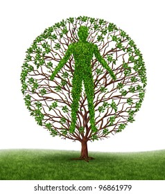 Human development and growth of personality and character in development as a medical icon of health as a tree with branches and green leaves in the shape of a persons anatomical body on white.s