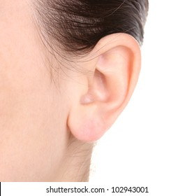Human ear close-up isolated on white