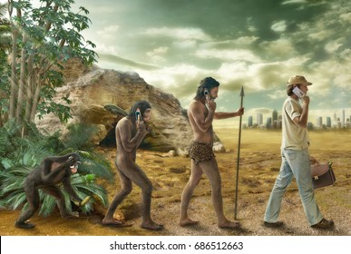 human evolution,  mobile phone evolution, the connection with the ancestors,  photo collage and drawing