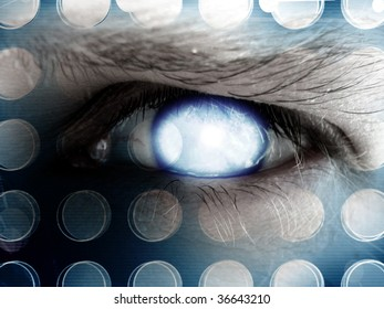 human eye with a dotted background on it