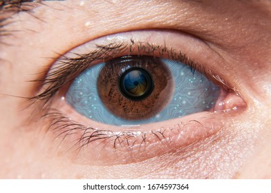 Human eye with Iris closeup photo edited with digital board and camera shutter as pupil