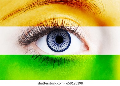 Human eye painted with flag of India
