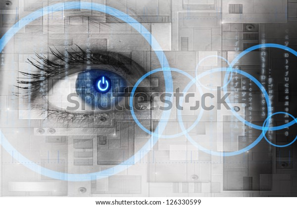 Human eye with power button reflection inside - technology concept