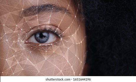 Human Eye Recognition Scanning Process. Close-up Half Face of Young African Woman Scanned Biometric Iris Reading for Facial Recognition. Face Detection. Augmented Reality. For Animation.