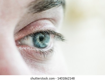 human eye is very close. Macro shot of a male  blue with gray eye. White race
