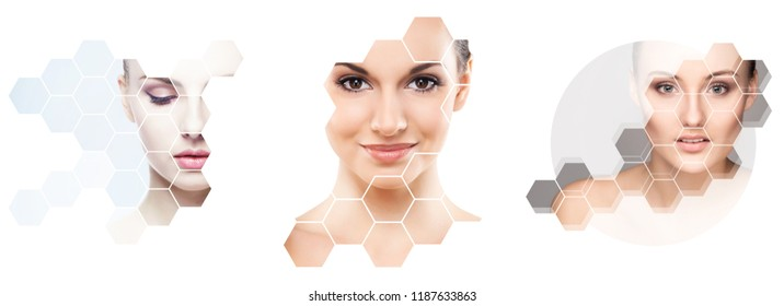 Human face in a collage. Young and healthy woman in plastic surgery, medicine, spa and face lifting concept collection.