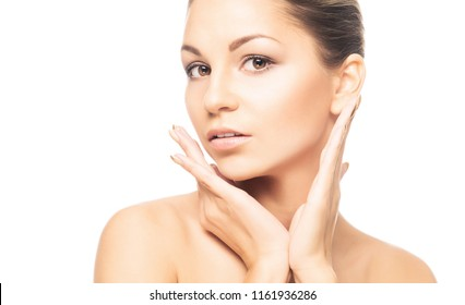 Human face isolated on white background. Spa portrait of beautiful, fresh and healthy woman.