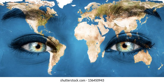 """Human face painted with planet earth - """"Elements of this image furnished by NASA"""""""