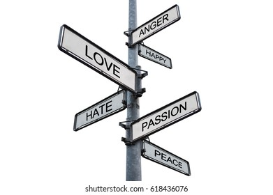 Human feelings and emotions on sign post, isolated on white background