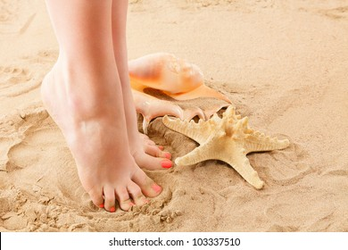 Human feet on sand with shell and starfish