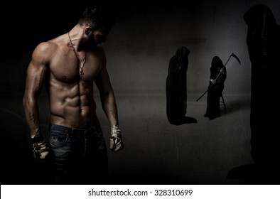 human fighter versus death, dark background