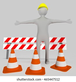 Human figure in front Warnbake and pylons, 3d-illustration