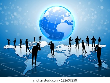 Human figures connected together in communication network