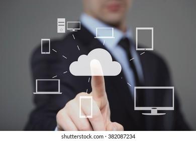 Human finger pressing high tech glowing modern cloud service interface touch screen button