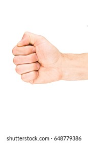 Human fist isolated on white background. Part of body people