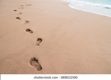 Human footprint on sand summer tropical beach background with copyspace.