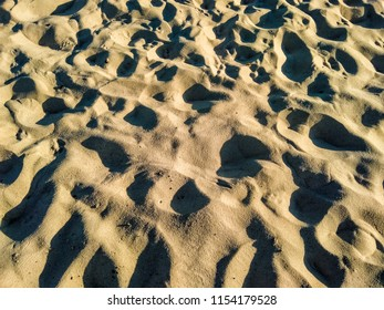 human footprints in the sand, on the beach, trampled beach