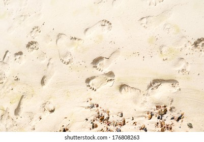 human footprints in the sand on the beach