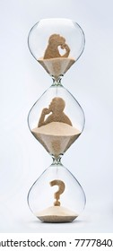 Human future uncertainty. Theory of evolution concept, with falling sand taking the shape of a monkey and a man inside a hourglass.