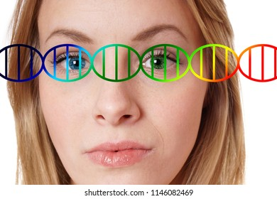 human genome editing concept, close-up portrait of a young woman with one blue and one green eye color overlayed with dna double helix