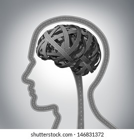 Human guidance and memory loss due to Dementia and Alzheimer's disease as a group of three dimensional roads shaped as a human head and brain tangled in a confused direction mind function concept.