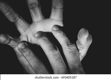 Human hand abstract pose in Black and White tone