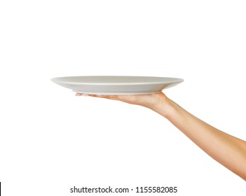 human hand with blank plate isolated on white background. perspective view, isolated on white background.