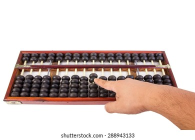 Human hand counting with wooden abacus beads.