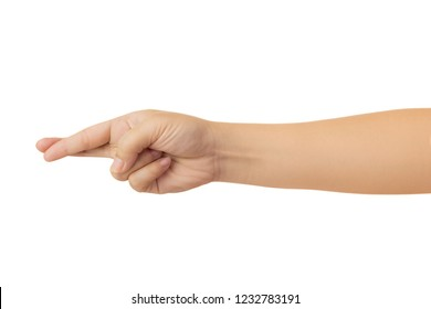 Human hand in crossing two finger gesture sign of indicating luck or show desire of favorable outcome, Isolate on white background with clipping path, High resolution and low contrast for retouch or g