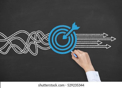 Human Hand Drawing Goal Solution Concept on Blackboard Background