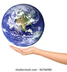 Human hand and Earth