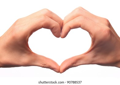 Human hand forming a love symbol on a white background.