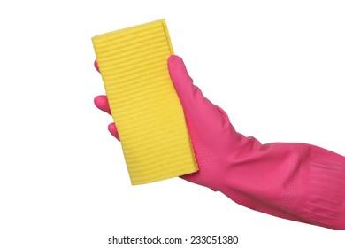Human hand in glove holding sponge rag, dishrag isolated on white