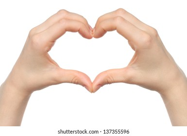 Human hand heart on white background