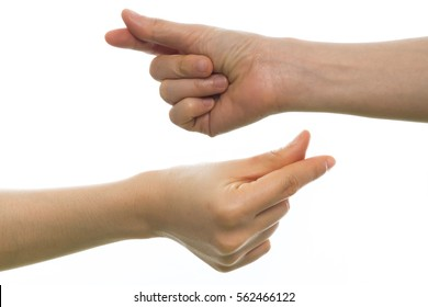 human hand hold Finger snapping on isolated white background.